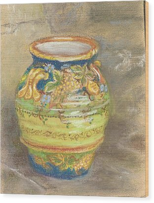 Blue And Gold Italian Pot Wood Print