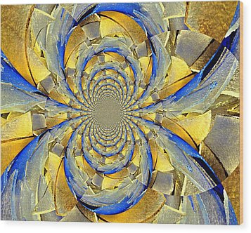 Blue And Gold Wood Print by Marty Koch