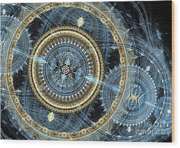Blue And Gold Mechanical Abstract Wood Print by Martin Capek