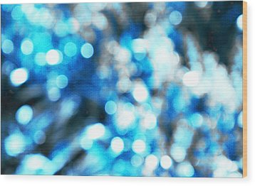 Wood Print featuring the digital art Blue And White Bokeh by Fine Art By Andrew David