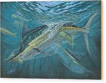 Blue And Mahi Mahi Underwater Wood Print