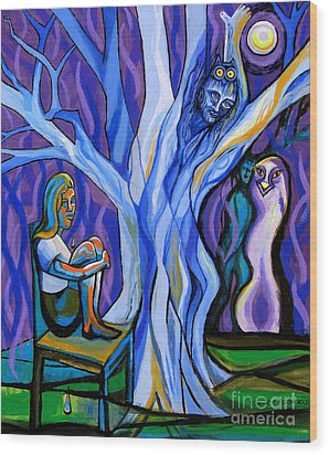 Blue And Purple Girl With Tree And Owl Wood Print by Genevieve Esson