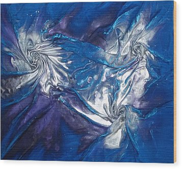 Wood Print featuring the mixed media Blue And Silver Twin 2 by Angela Stout