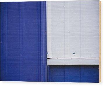 Blue And White Wood Print by Christi Kraft
