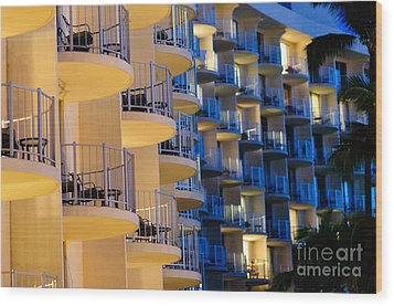 Blue And White Hotel Balcony Abstract. Wood Print