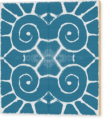 Blue And White Wave Tile- Abstract Art Wood Print by Linda Woods