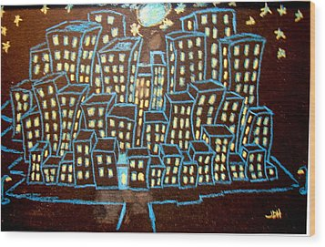 Blue House On The Left Wood Print