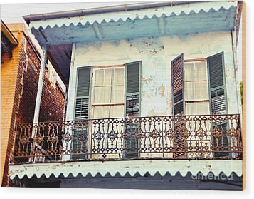 Wood Print featuring the photograph Blue And Yellow House by Sylvia Cook