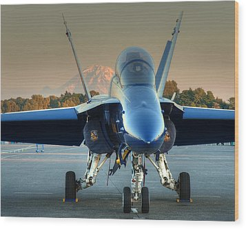 Wood Print featuring the photograph Blue Angel At Sunset by Jeff Cook
