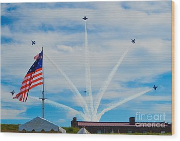 Blue Angels Bomb Burst In Air Over Fort Mchenry Finale Wood Print by Jeff at JSJ Photography
