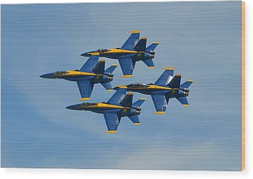 Wood Print featuring the photograph Blue Angels Diamond Formation Over Pensacola Beach by Jeff at JSJ Photography