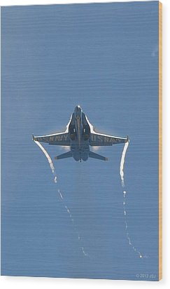 Wood Print featuring the photograph Blue Angels Ghost Appears Head-on Over Pensacola Beach by Jeff at JSJ Photography