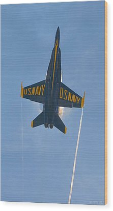 Wood Print featuring the photograph Blue Angels Ghost Appears Over Pensacola Beach by Jeff at JSJ Photography