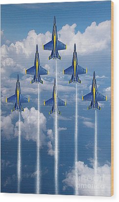 Blue Angels Wood Print by J Biggadike