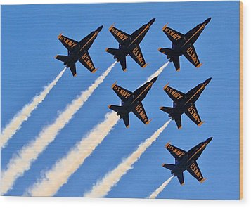 Blue Angels Overhead Wood Print by Benjamin Yeager