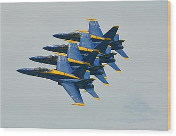 Wood Print featuring the photograph Blue Angels Practice Echelon Formation by Jeff at JSJ Photography