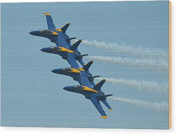 Wood Print featuring the photograph Blue Angels Practice Echelon Formation Over Pensacola Beach by Jeff at JSJ Photography