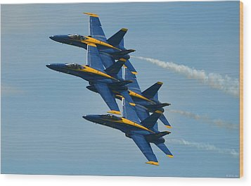 Wood Print featuring the photograph Blue Angels Practice Formation Over Pensacola Beach by Jeff at JSJ Photography