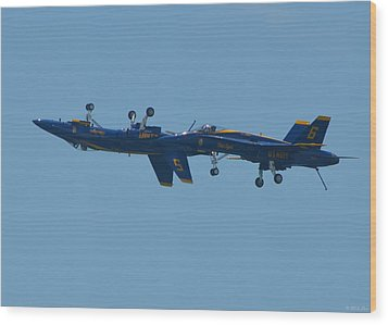 Wood Print featuring the photograph Blue Angels Practice Up And Down With Low And Slow by Jeff at JSJ Photography