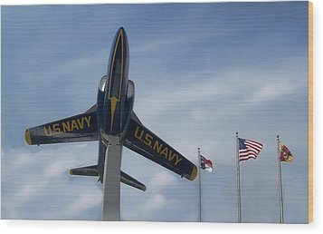 Wood Print featuring the photograph Blue Angels Tribute by Victor Montgomery