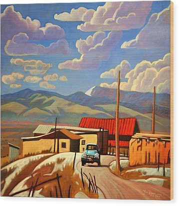 Wood Print featuring the painting Blue Apache by Art James West