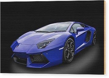 Blue Aventador Wood Print by Matt Malloy