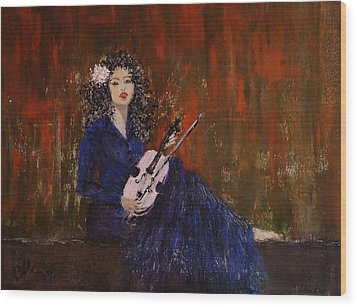Wood Print featuring the painting Blue Ballad... by Cristina Mihailescu
