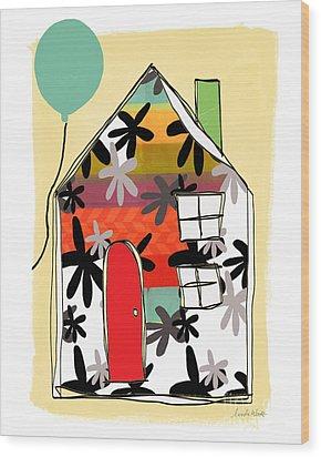 Blue Balloon Wood Print by Linda Woods