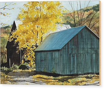 Blue Barn Wood Print by Barbara Jewell