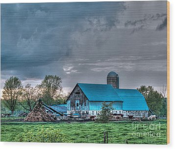 Blue Barn Wood Print by Bianca Nadeau