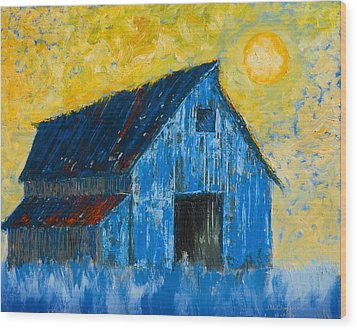 Blue Barn Number One Wood Print by Jerry McElroy