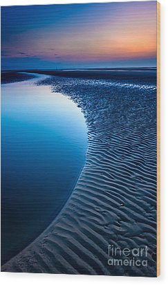 Blue Beach  Wood Print by Adrian Evans