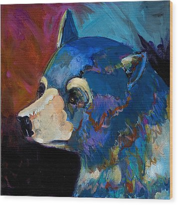 Blue Bear II Wood Print by Bob Coonts