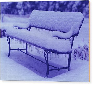 Wood Print featuring the photograph Blue Bench by Susan Crossman Buscho