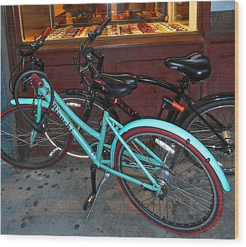Wood Print featuring the photograph Blue Bianchi Bike by Joan Reese