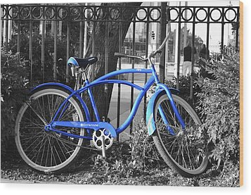 Blue Bike Wood Print