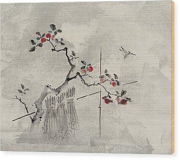 Blue Bird Wood Print by Aged Pixel