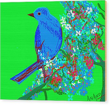 Blue Bird And Flowers Wood Print by Anand Swaroop Manchiraju