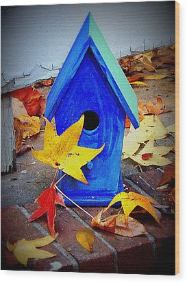 Wood Print featuring the photograph Blue Bird House by Rodney Lee Williams