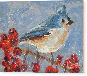 Blue Bird In Winter - Tuft Titmouse Modern Impressionist Art Wood Print
