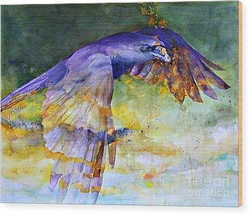 Blue Bird Wood Print by Janet Moss