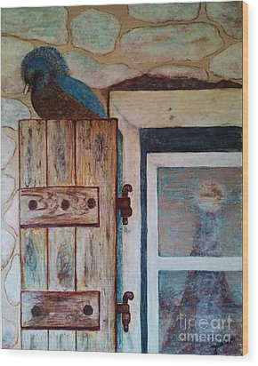Wood Print featuring the painting Blue Bird by Jasna Gopic