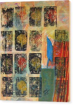 Wood Print featuring the painting Blue Bird by Patricia Januszkiewicz