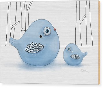 Blue Birds Of Happiness Wood Print by Karin Taylor