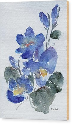 Wood Print featuring the painting Blue Blooms by Anne Duke