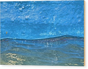 Blue Boat Abstract Wood Print by David Letts