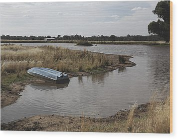 Wood Print featuring the photograph Blue Boat On Dam. by Carole Hinding