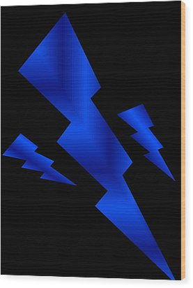 Blue Bolts Wood Print by Gayle Price Thomas