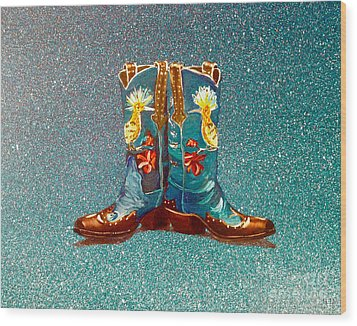 Blue Boots Wood Print by Mayhem Mediums