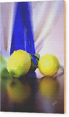 Blue Bottle And Lemons Wood Print by Ben and Raisa Gertsberg